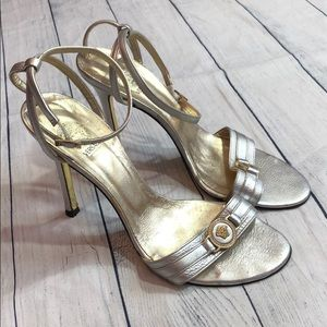 Versace Metallic Silver Coin Ankle Strap Heels